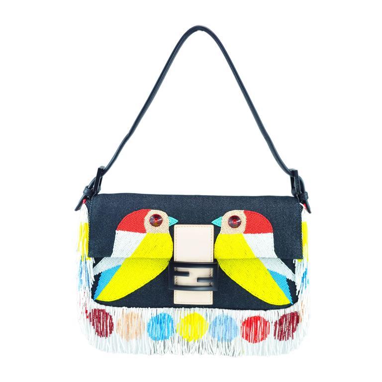 Fendi Multi-color Beaded & Fringe Bird Denim and Leather Baguette Bag New