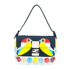 Fendi Multi-color Beaded & Fringe Bird Denim and Leather Baguette Bag New