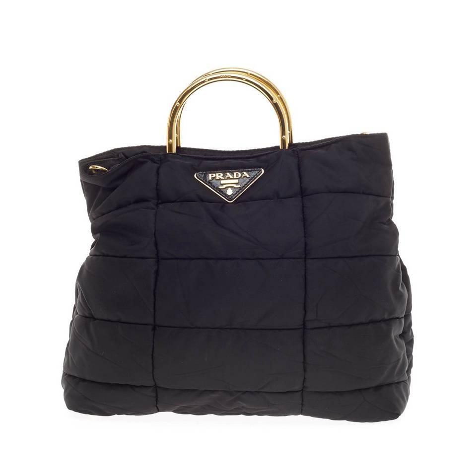 f439c728332c ... prada backpack replica - Prada Convertible Metal Handle Satchel Quilted  Tessuto at 1stdibs prada saffiano lux tote bag ...
