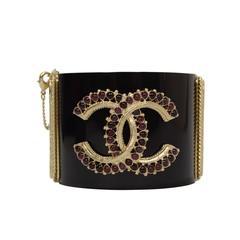 Chanel Black Resin & Mauve Glass Cuff GHW