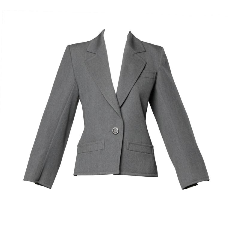 YSL Yves Saint Laurent Rive Gauche Vintage Gray Wool Blazer Jacket For Sale