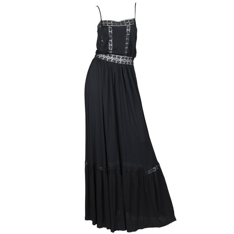 Early Vicky Tiel 1970s Lace and Silk Jersey Boho Dress 1
