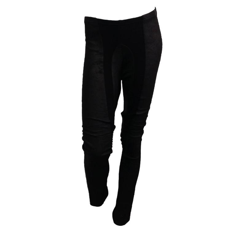 Rick Owens Black Leather Leggings For Sale