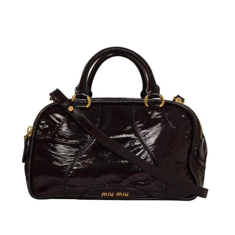 Miu Miu Brown Vinyl Bowler Bag Ghw At 1stdibs