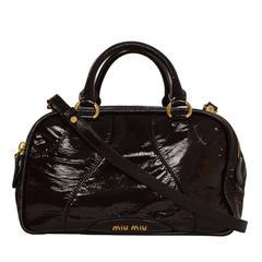 Miu Miu Brown Vinyl Bowler Bag GHW