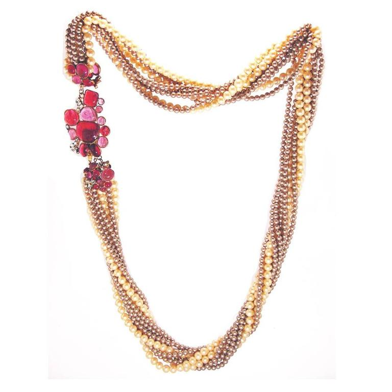 Goossens for Chanel Multi-strand Pearl & Pâte de verre Camellia Necklace 1970s  1
