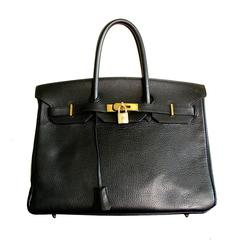 Hermes Birkin Bag 35cm Noir Black Ardennes Leather Gold Hardware