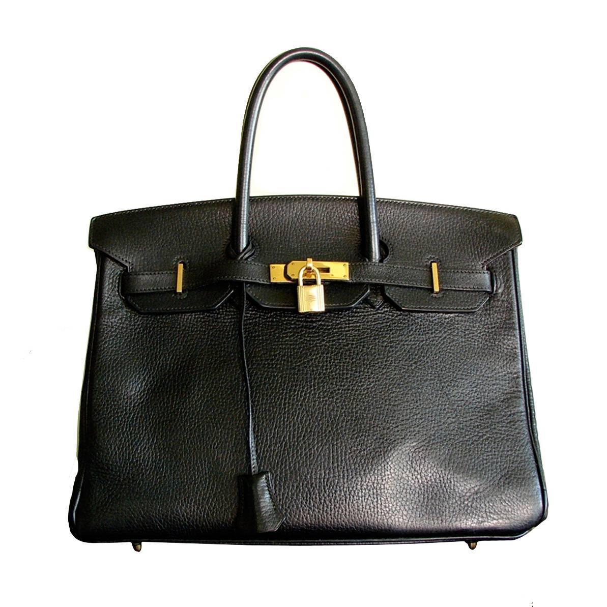c99edead58c Hermes Paris Birkin Bag 35cm Black Ardennes Leather and Gold Hardware 1993  For Sale at 1stdibs