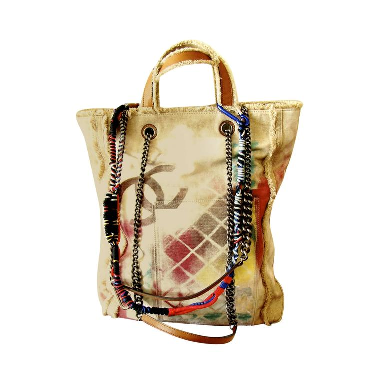 Chanel Graffiti Painted Etoile Canvas Tote Bag Limited ...