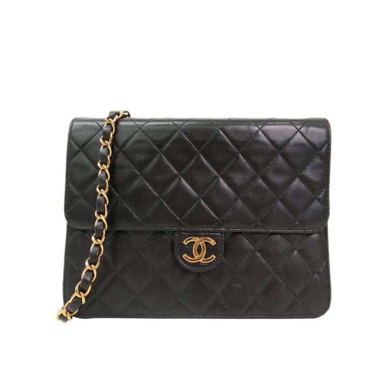 Chanel Vintage Black Quilted Lambskin Leather Flap Crossbody Shoulder Bag 1