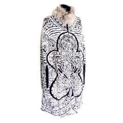 Emilio Pucci Intarsia Embellished Angora Wool Jacquard Cape Badger Fur Collar