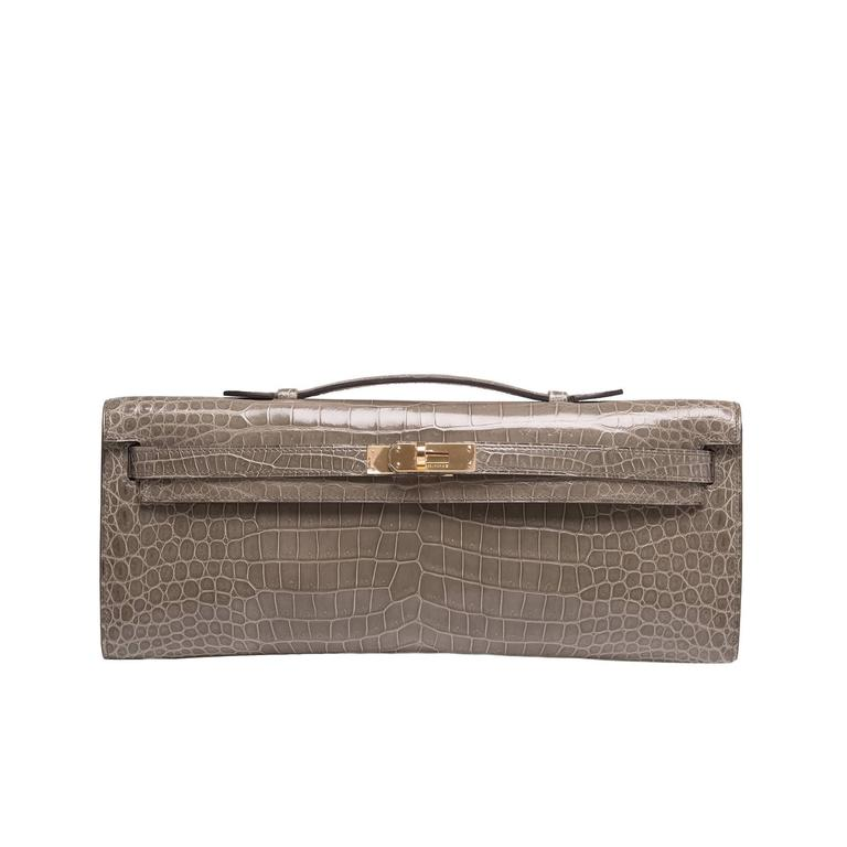 Hermes Gris Tourterelle Shiny Porosus Crocodile Kelly Cut For Sale