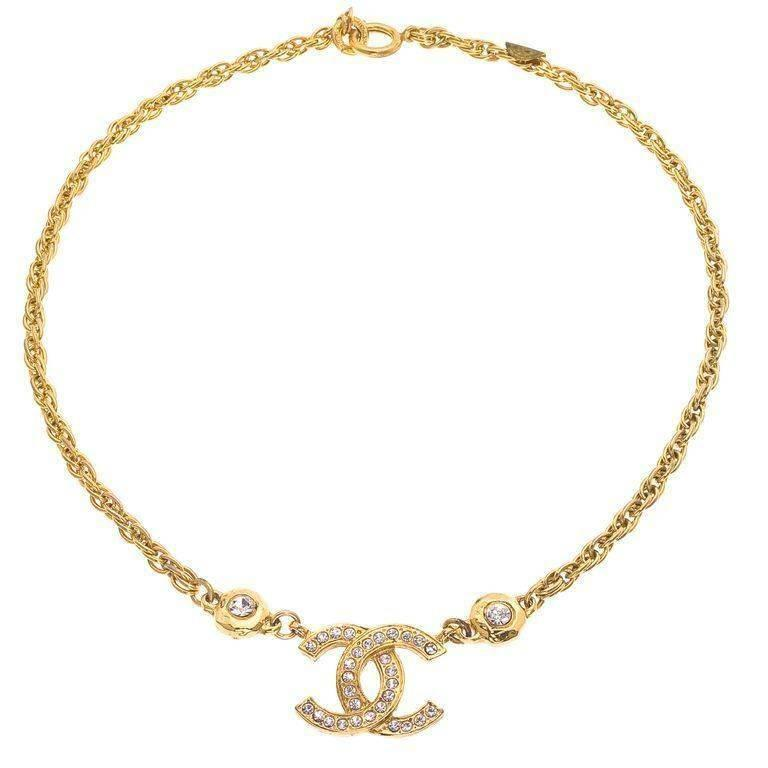 vintage chanel cc necklace with rhinestones at 1stdibs