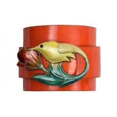 David Andersen Enamel Sterling Silver Hummingbird on Leather Cuff Bracelet