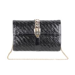 GUCCI Italian VINTAGE Black Lacquered Woven Rattan SHOULDER BAG Flap Purse