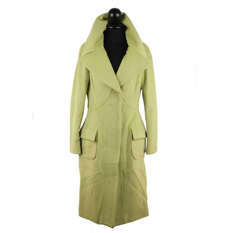 VERSACE  Lime Green Wool Blend COAT Wide Lapels 2005 Fall Collection Sz 40 IT
