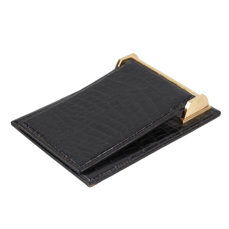 GUCCI VINTAGE Black Crocodile Leather DESK NOTEPAD COVER Notebook Holder