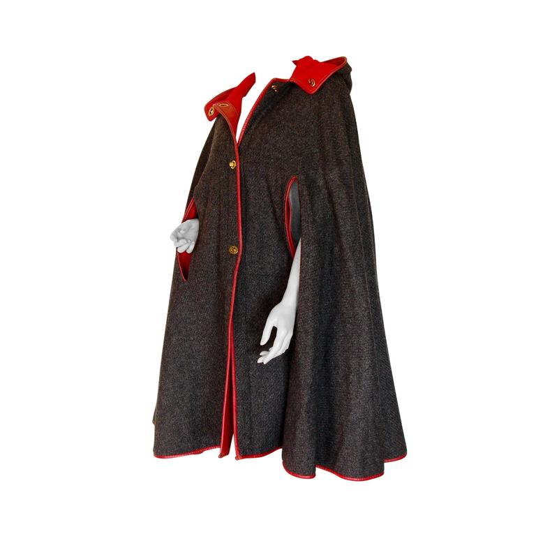 Rare Bonnie Cashin Sills Hooded Cape Charcoal Wool Contrast Red Leather Trim OS