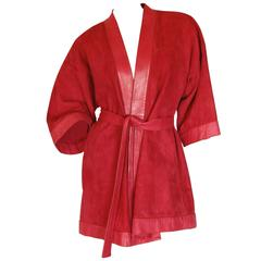 Bonnie Cashin Cherry Red Suede Kimono with Leather Trim and Belt, 1960s