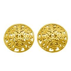 1990's Chanel Gold Filagree Earrings