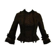 Alexander McQueen Savage Beauty A/W 2002 Black Fringe Jacket 38