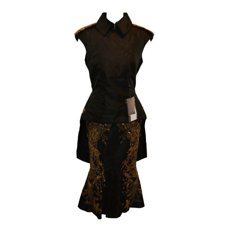 Alexander McQueen Resort 2012 Chinese Embroidered Bead Jacket Skirt Suit