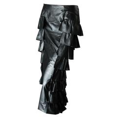 Chanel Black Leather & Sheer Panel Ruffled Maxi Skirt Fall 01A Size 40