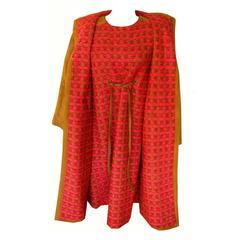 Bonnie Cashin Dress & Coat 2pc Set Cherry Boucle Wool & Tan Suede New Tags 60s L