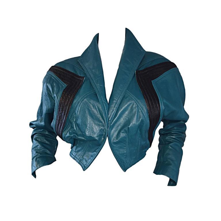 Avant Garde Kelli Kouri Leather Vintage Teal Blue + Black Cropped Bolero Jacket 1