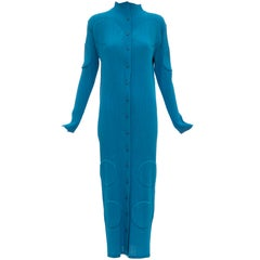 Issey Miyake Turquoise Long Button Front Cardigan, Circa 1990s