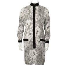 1980's Scherrer Cream & Black Print Wool Dress