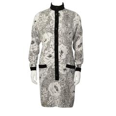1980's Scherrer Cream & Black Print Wool Dress