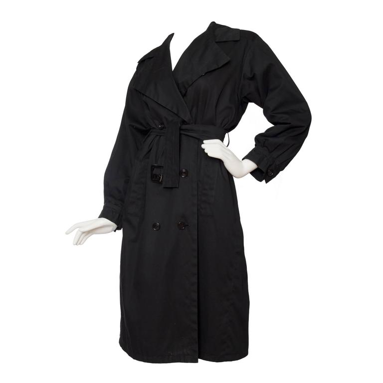 1960s Black Yves Saint Laurent Rive Gauche Cotton Trench Coat