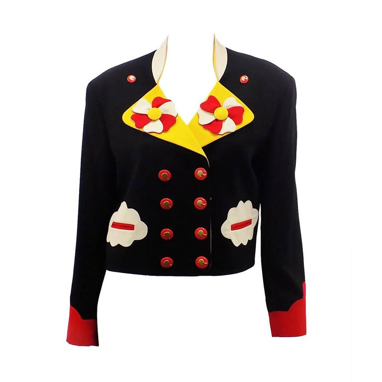 Moschino Vintage Flower Power Cropped Jacket Blazer 1