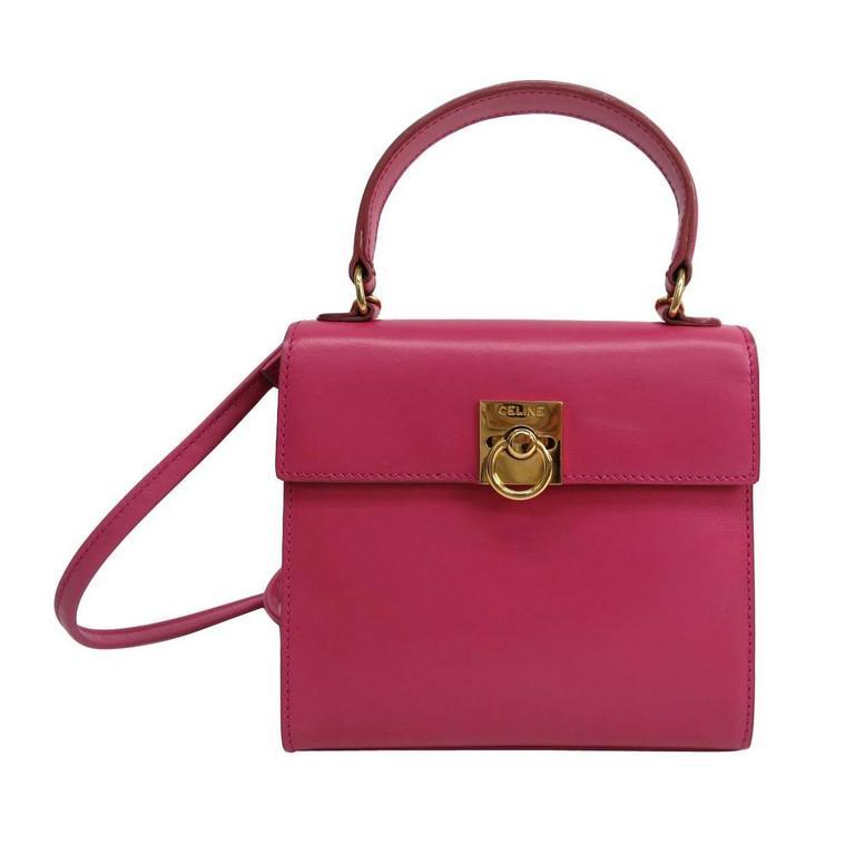 84a34f443d Celine Pink Leather Box Kelly Top Handle Satchel Shoulder Bag at 1stdibs