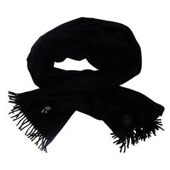 Hermes Black Cashmere extra wide shawl scarf with fringes