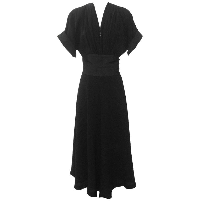 Nettie Rosenstein 1940's Black Crepe Evening Dress with Bow Back For Sale