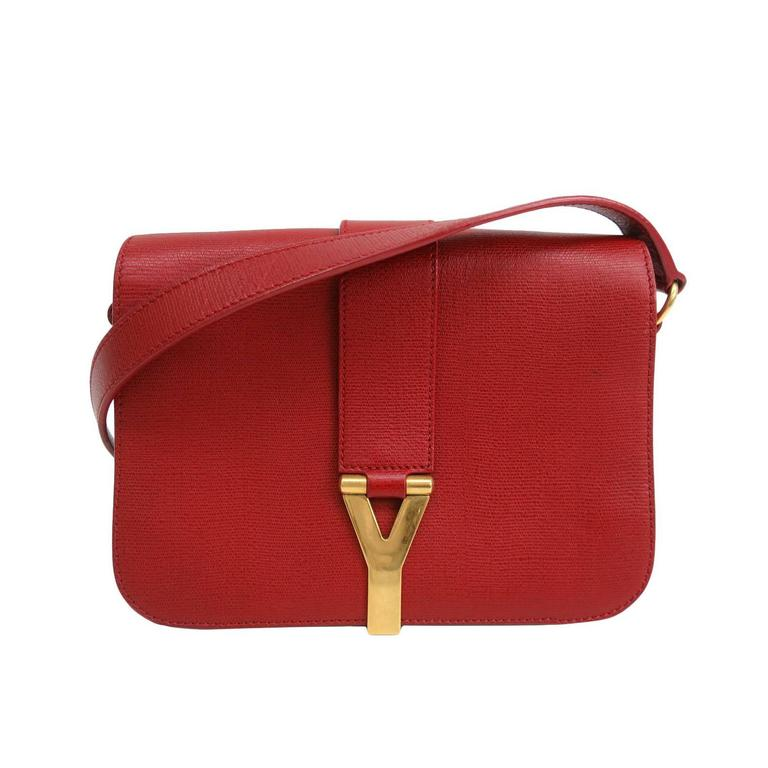 Yves Saint Laurent (YSL) Chyc Y Red Leather Gold Hardware Crossbody ... acebe6ab4cf24