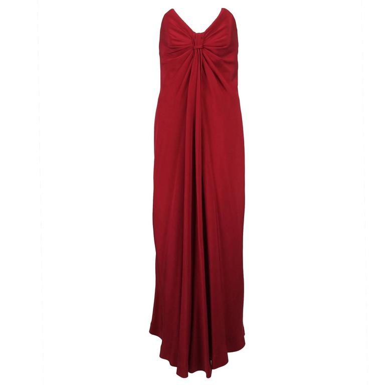 Fabulous John Anthony candy apple red silk strapless column gown 1980s