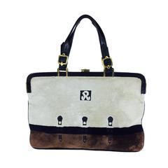 Roberta di Camerino cream, black & chocolate brown velvet handbag 1970s