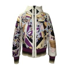 Emilio Pucci for Rossignol Pucci Print Winter Ski Jacket with Hood and Knit Trim