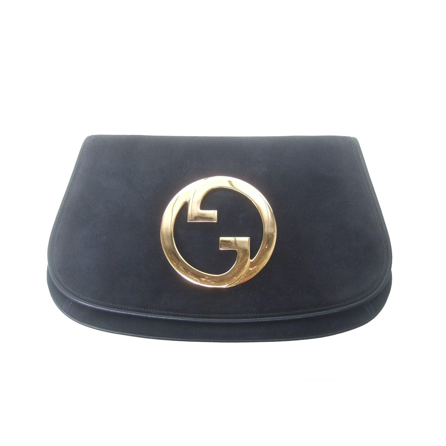 gucci italy black suede blondie clutch bag ca 1970 for sale at 1stdibs