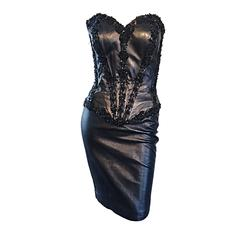 Rare Vintage Vicky Tiel Couture Sexy Leather Beaded + Sequin Corset Black Dress