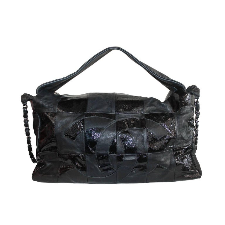 Chanel Black Lambskin Quilted Shiny Leather No. 11 Hobo Bag with SHW Chain For Sale