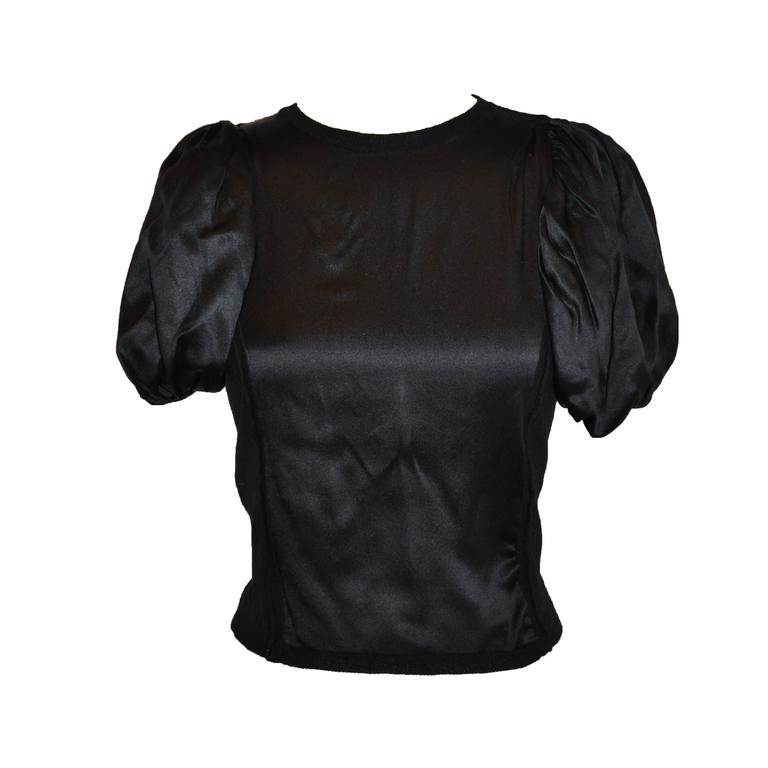 Prada Black Wool/ Cashmere/ Silk with Puff Sleeve Pullover Top