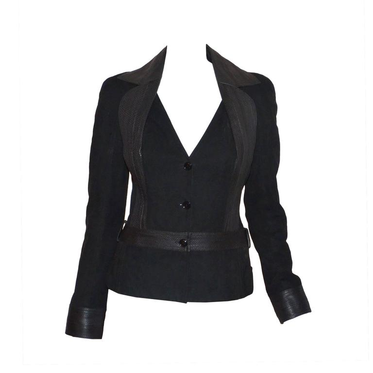 Christian Dior Suede Blazer With Snake Trim Jacket
