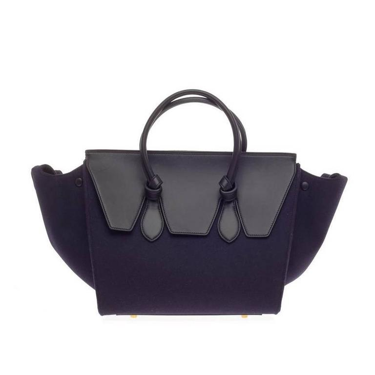 Celine Tie Knot Tote Leather and Felt Small 1