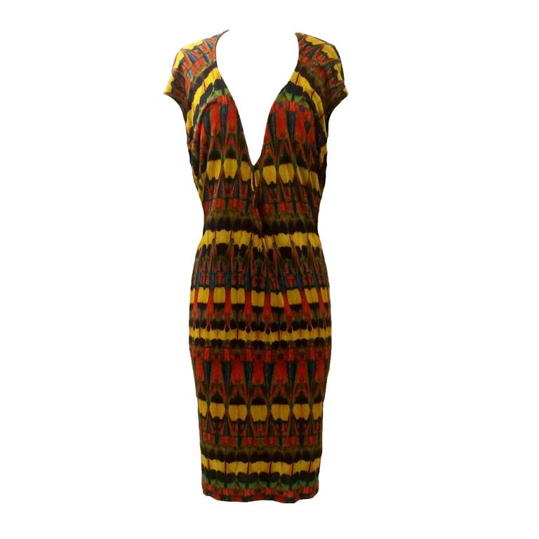 Alexander McQueen Yellow and Red Feather Print Jersey Draped Dress, 2009