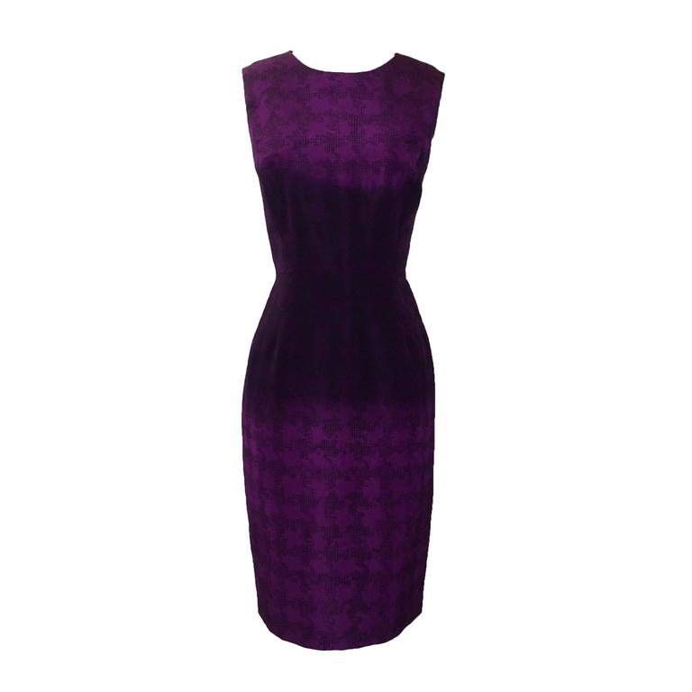 Oscar de la Renta Purple Ombre Houndstooth Check Silk Cocktail Dress