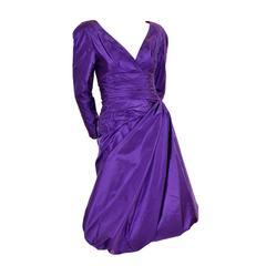 William Travilla Vintage Cocktail Party Dress Purple Satin Bubble Draping Size 6